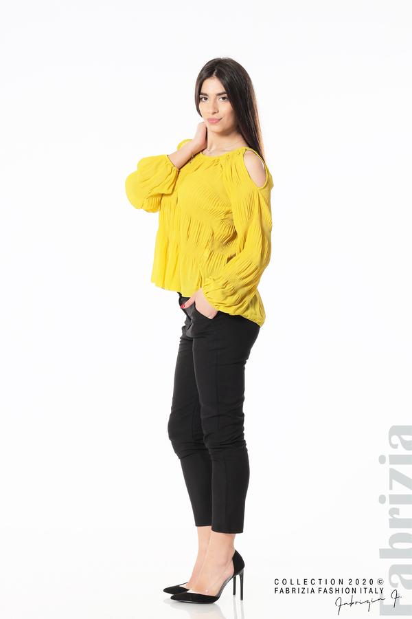 Блуза с прорези на раменете жълт 4 fabrizia