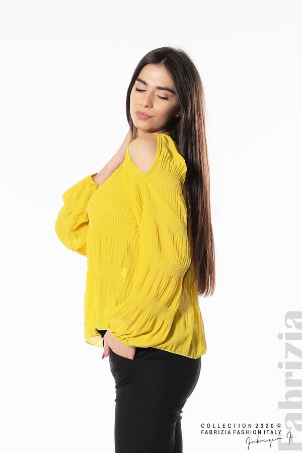 Блуза с прорези на раменете жълт 2 fabrizia