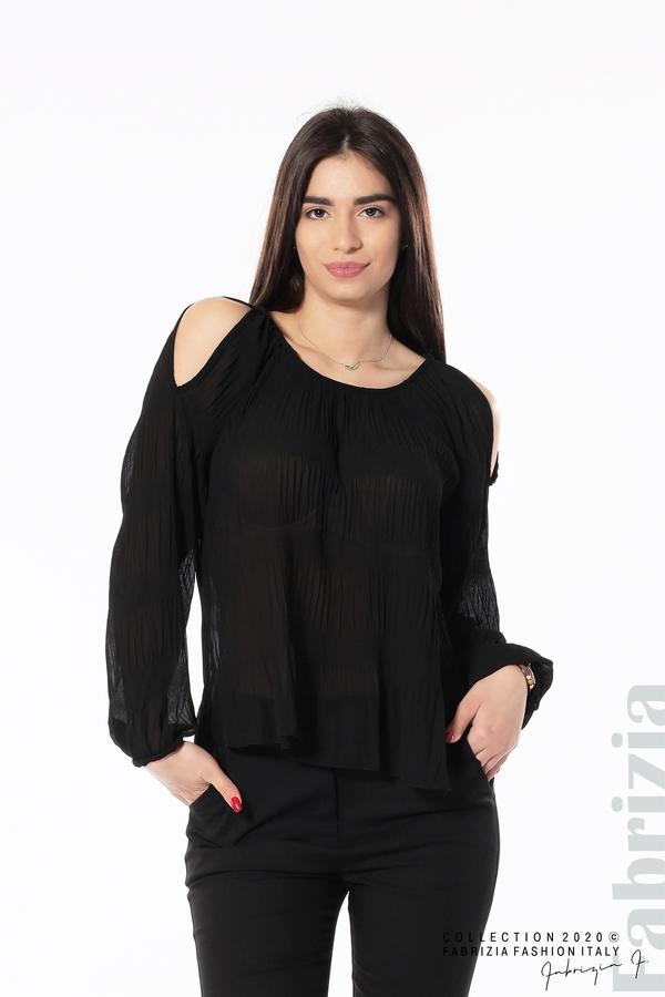 Блуза с прорези на раменете черен 1 fabrizia