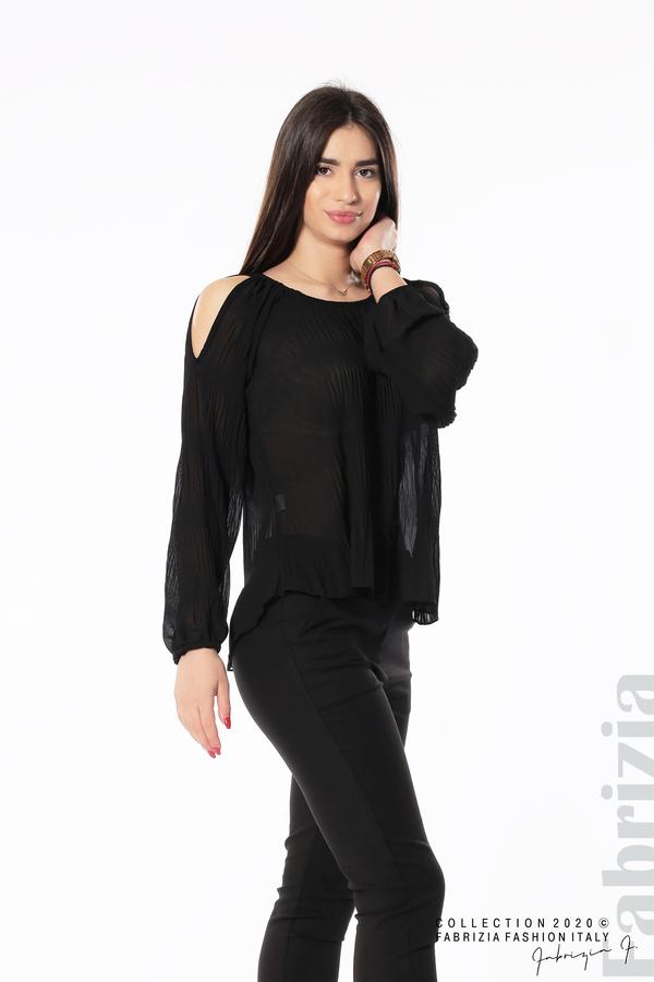 Блуза с прорези на раменете черен 4 fabrizia