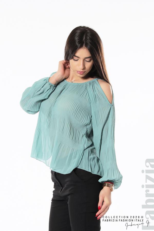 Блуза с прорези на раменете бл.зелен 3 fabrizia