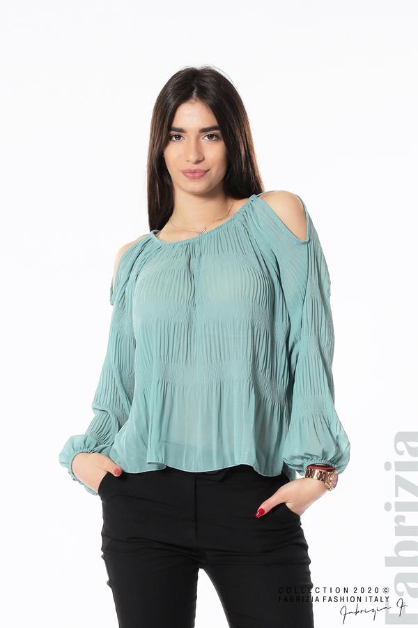 Блуза с прорези на раменете бл.зелен 1 fabrizia