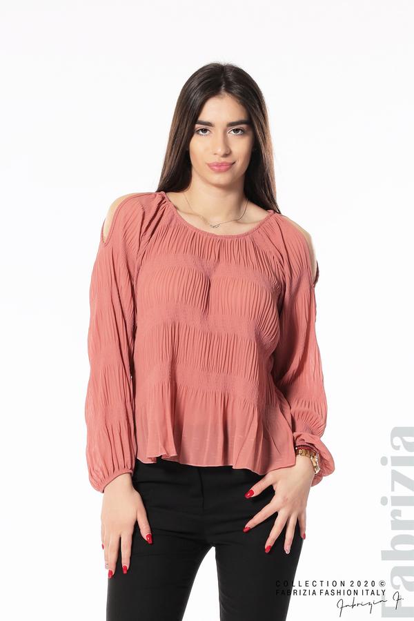 Блуза с прорези на раменете корал 3 fabrizia
