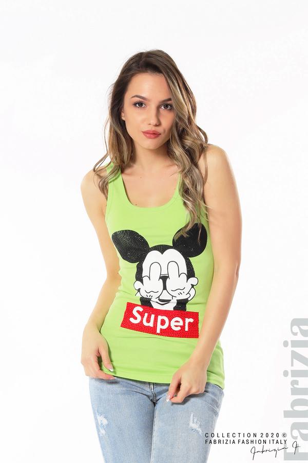 Дамски топ с ефектна щампа Super ел.зелен 1 fabrizia