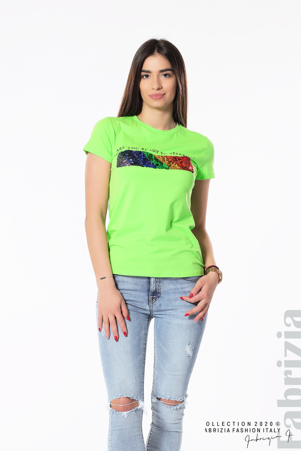 Блуза с разноцветни пайети св.зелен 4 fabrizia