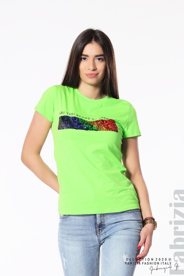Блуза с разноцветни пайети св.зелен 1 fabrizia