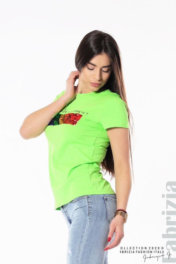 Блуза с разноцветни пайети св.зелен2 fabrizia