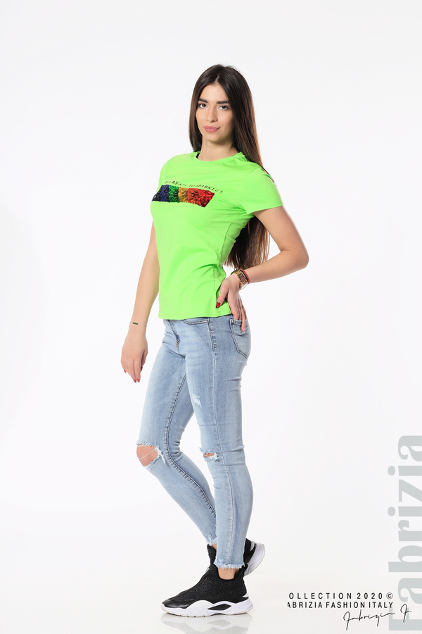 Блуза с разноцветни пайети св.зелен 5 fabrizia