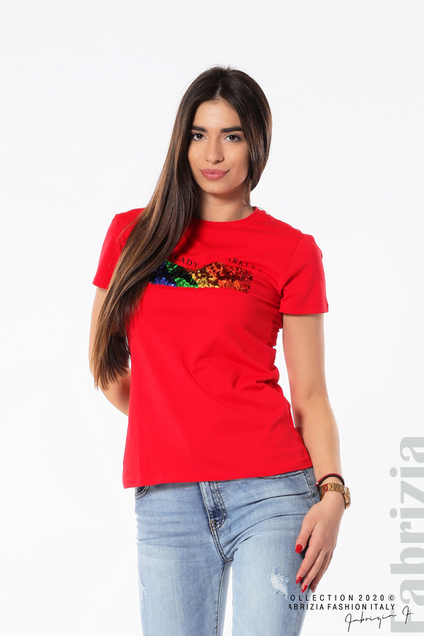 Блуза с разноцветни пайети червен 2 fabrizia