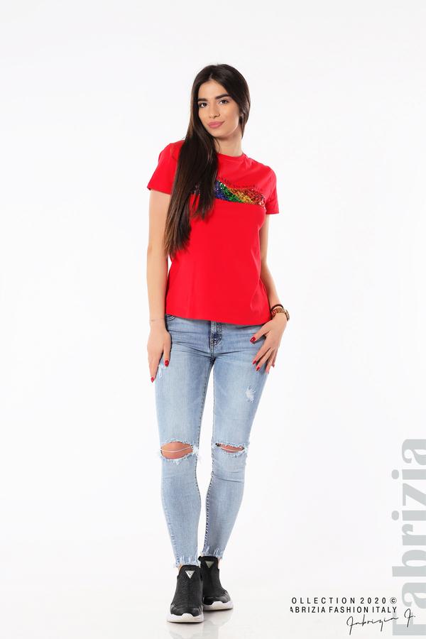 Блуза с разноцветни пайети червен3 fabrizia