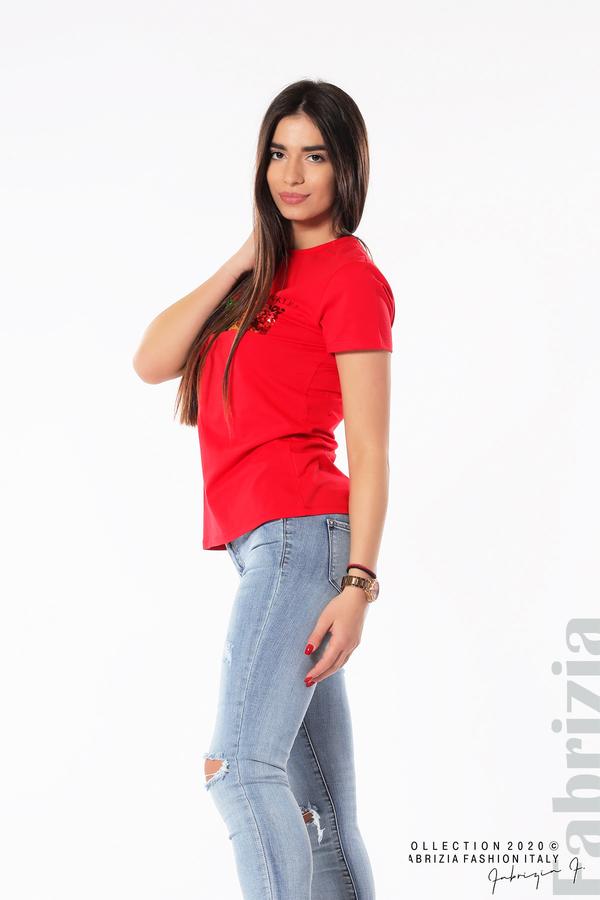 Блуза с разноцветни пайети червен 4 fabrizia