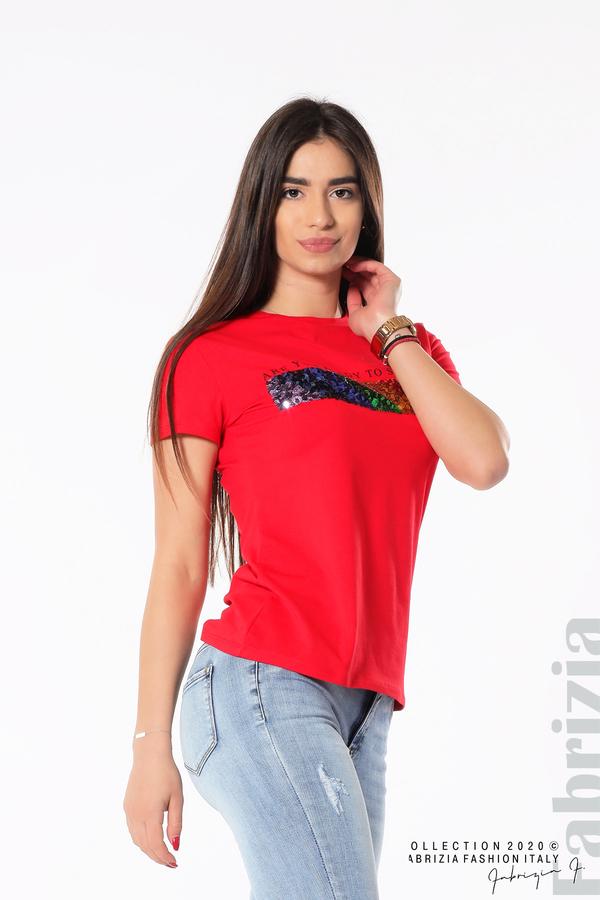 Блуза с разноцветни пайети червен 1 fabrizia