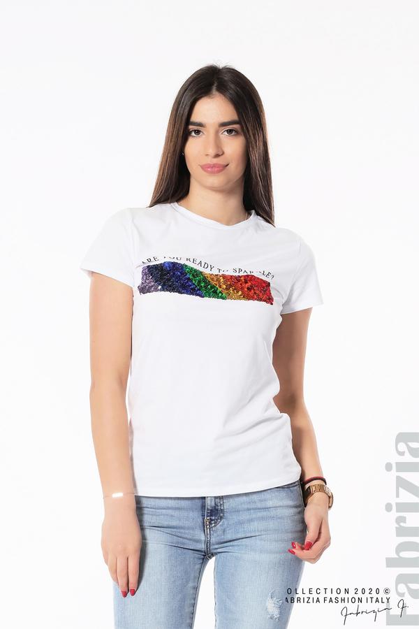 Блуза с разноцветни пайети бял 2 fabrizia