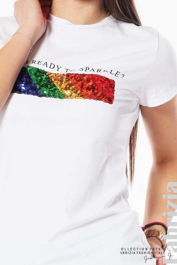 Блуза с разноцветни пайети бял 3 fabrizia
