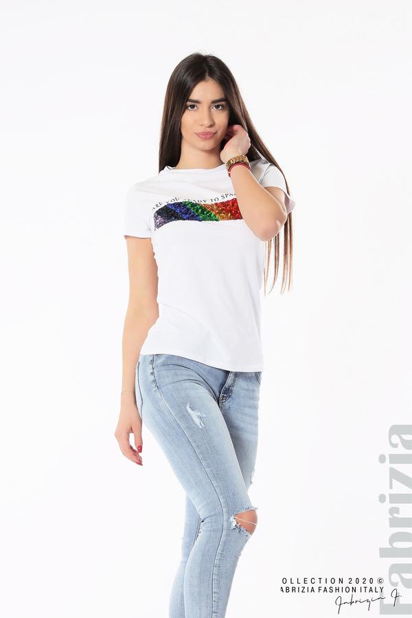 Блуза с разноцветни пайети бял 4 fabrizia