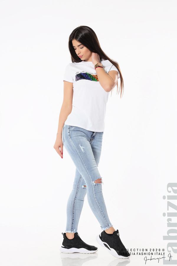 Блуза с разноцветни пайети бял 5 fabrizia