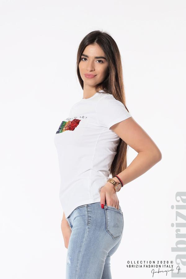 Блуза с разноцветни пайети бял 1 fabrizia