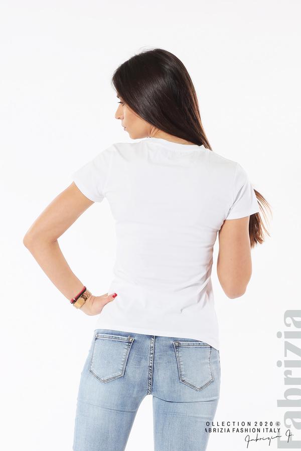 Блуза с разноцветни пайети бял 6 fabrizia