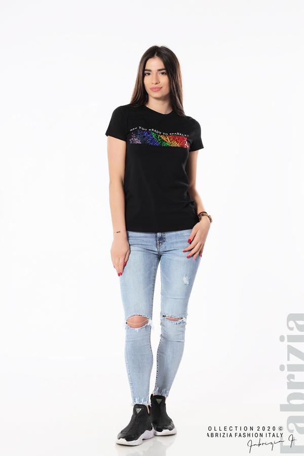 Блуза с разноцветни пайети черен 4 fabrizia