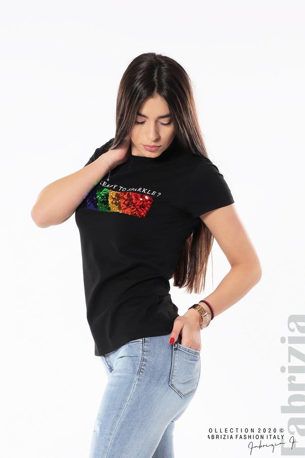 Блуза с разноцветни пайети черен 1 fabrizia