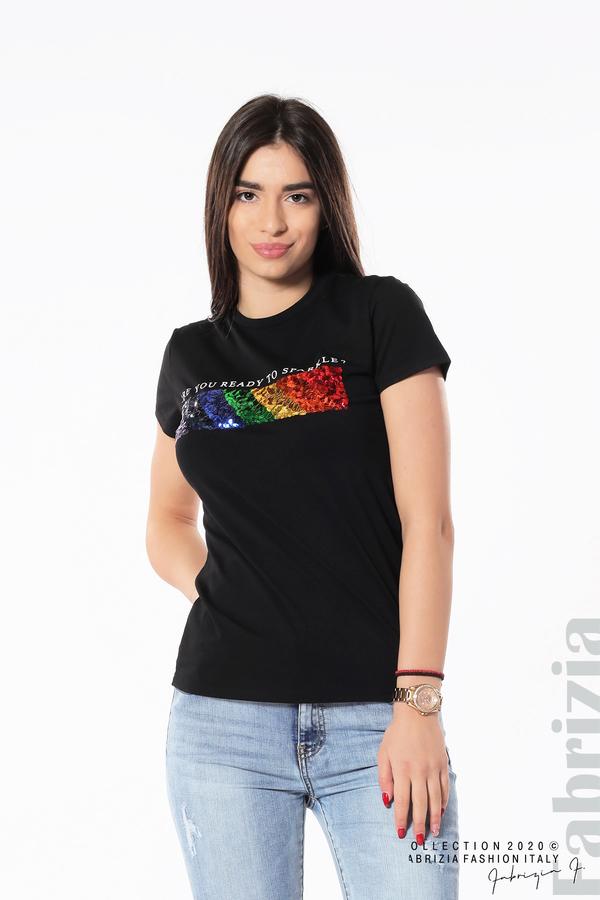 Блуза с разноцветни пайети черен 2 fabrizia