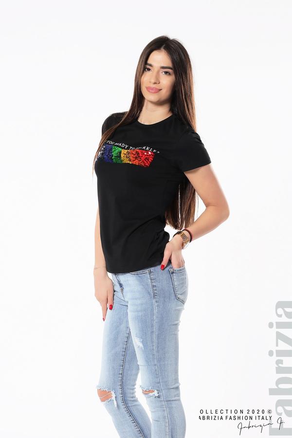 Блуза с разноцветни пайети черен 5 fabrizia