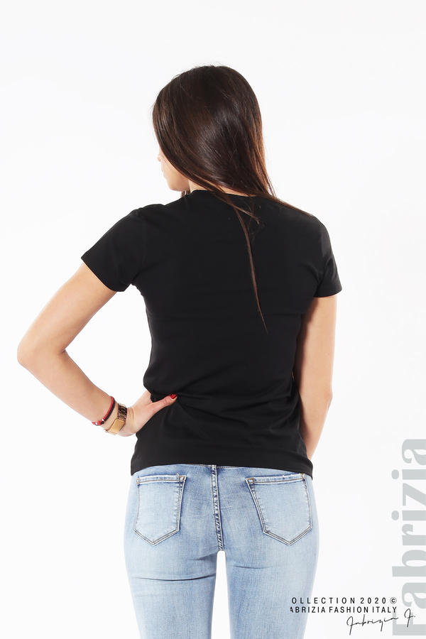 Блуза с разноцветни пайети черен 6 fabrizia