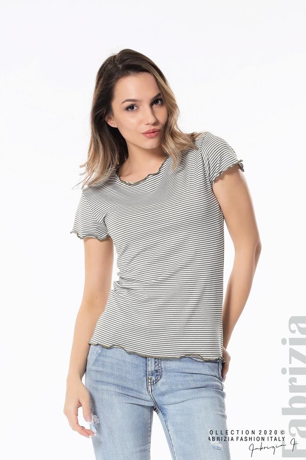Блуза  с къдрички каки 2 fabrizia