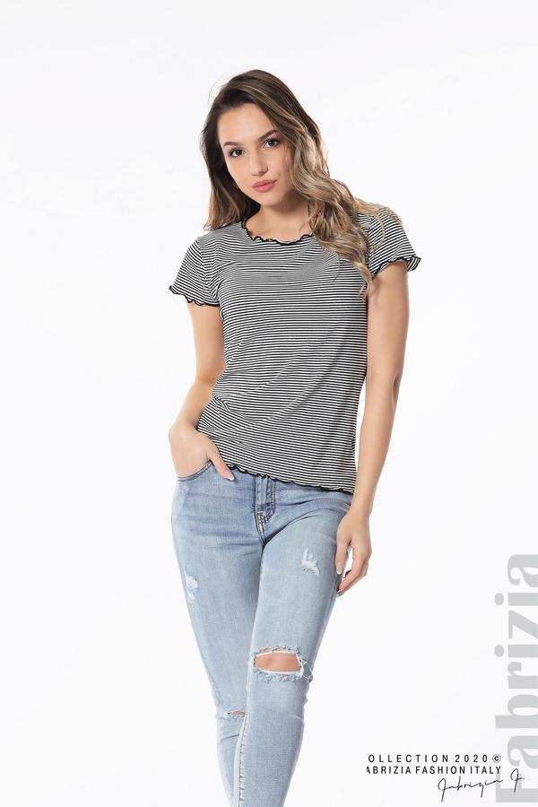 Блуза  с къдрички черен 4 fabrizia
