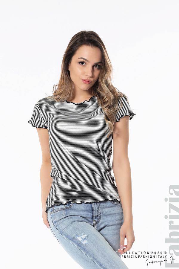 Блуза  с къдрички черен 2 fabrizia