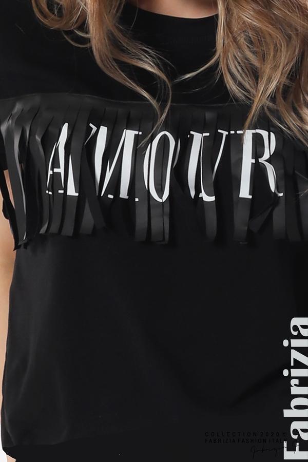 Блуза с ресни и надпис Amour черен 3 fabrizia