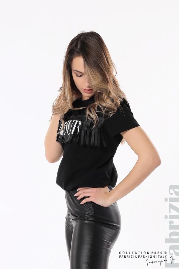Блуза с ресни и надпис Amour черен 1 fabrizia