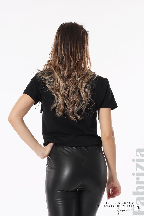 Блуза с ресни и надпис Amour черен 5 fabrizia