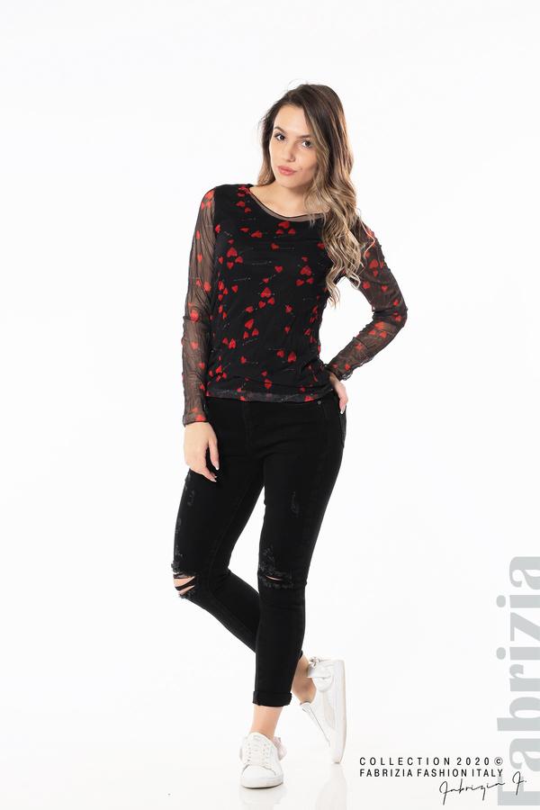 Тюлена блуза със сърца черен 3 fabrizia