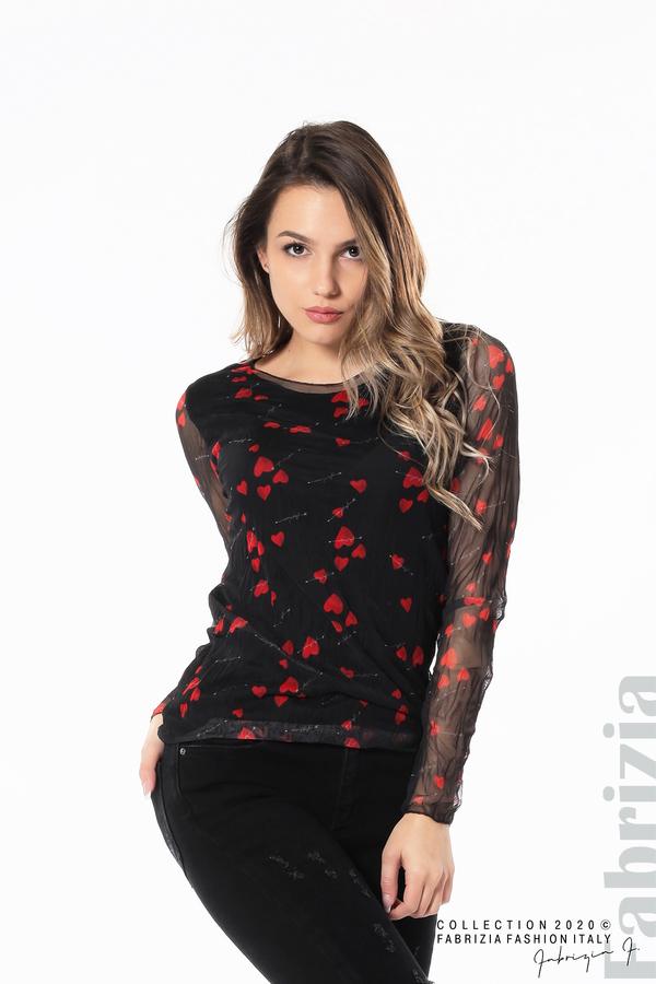 Тюлена блуза със сърца черен 2 fabrizia
