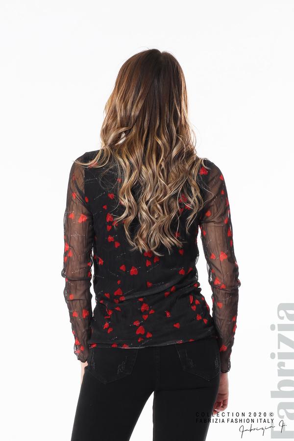 Тюлена блуза със сърца черен 5 fabrizia