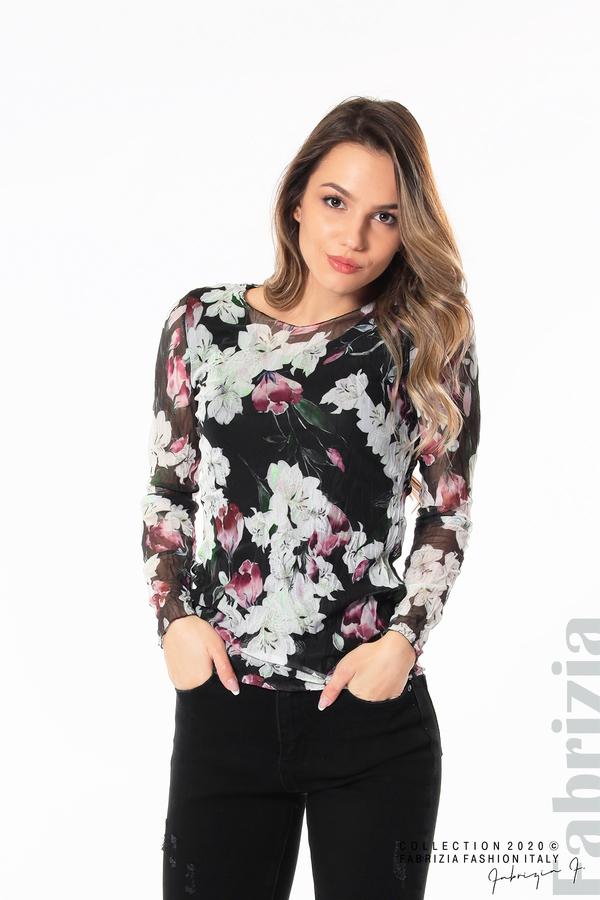 Блуза от тюл с орхидеи черен 1 fabrizia