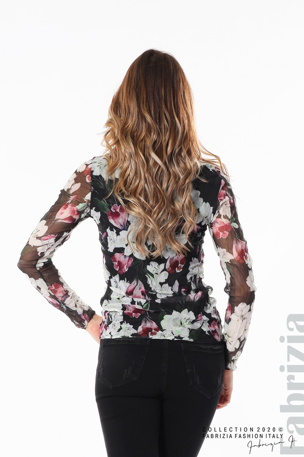 Блуза от тюл с орхидеи черен 5 fabrizia