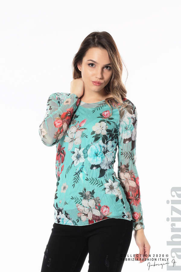 Тюлена блуза с цветя бл.зелен 1 fabrizia