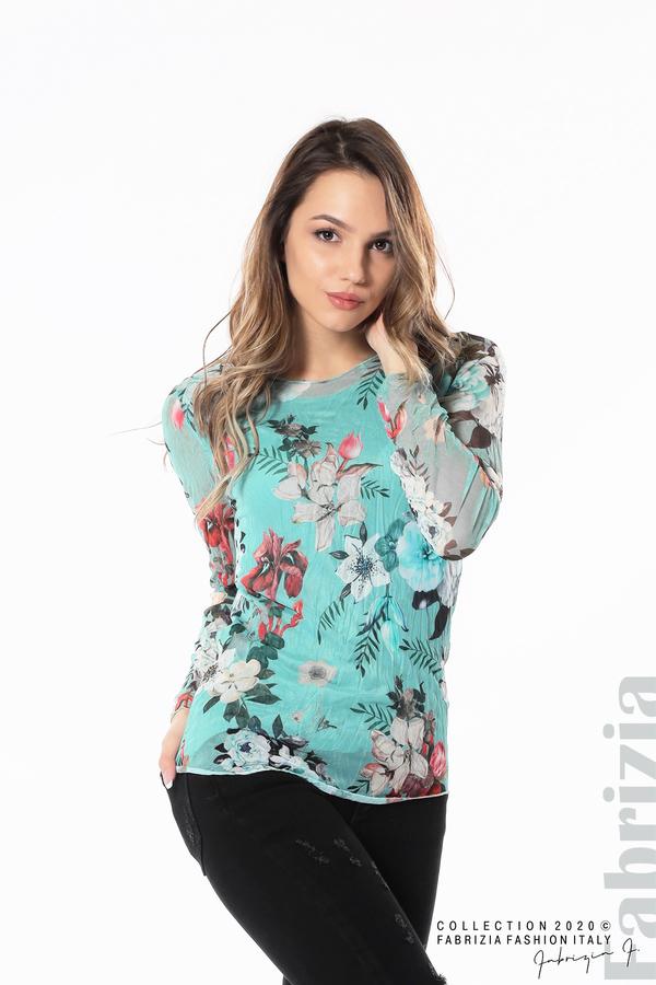 Тюлена блуза с цветя бл.зелен 3 fabrizia