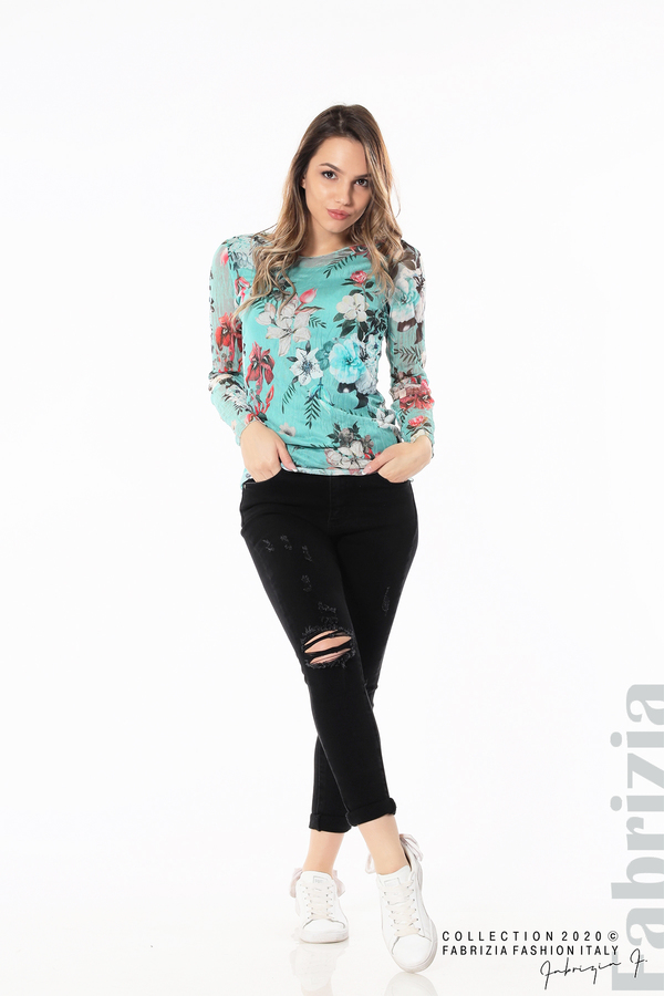 Тюлена блуза с цветя бл.зелен 4 fabrizia