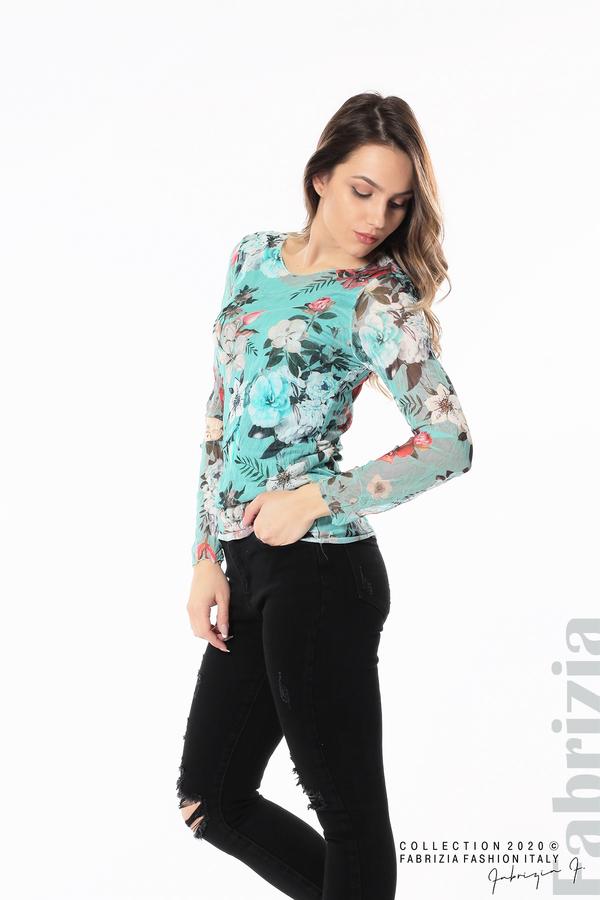 Тюлена блуза с цветя бл.зелен 2 fabrizia
