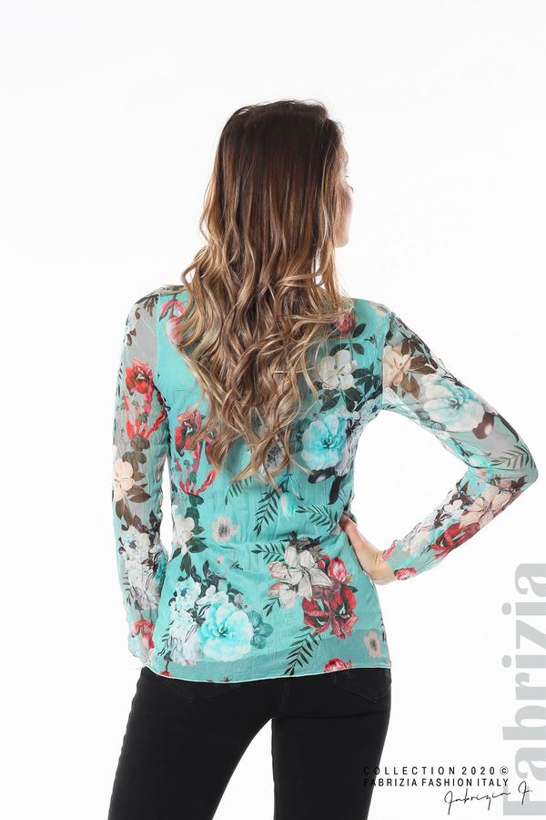Тюлена блуза с цветя бл.зелен 5 fabrizia