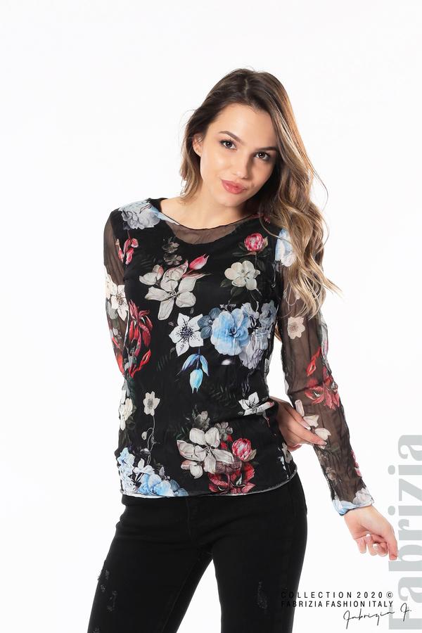 Тюлена блуза с цветя черен 1 fabrizia