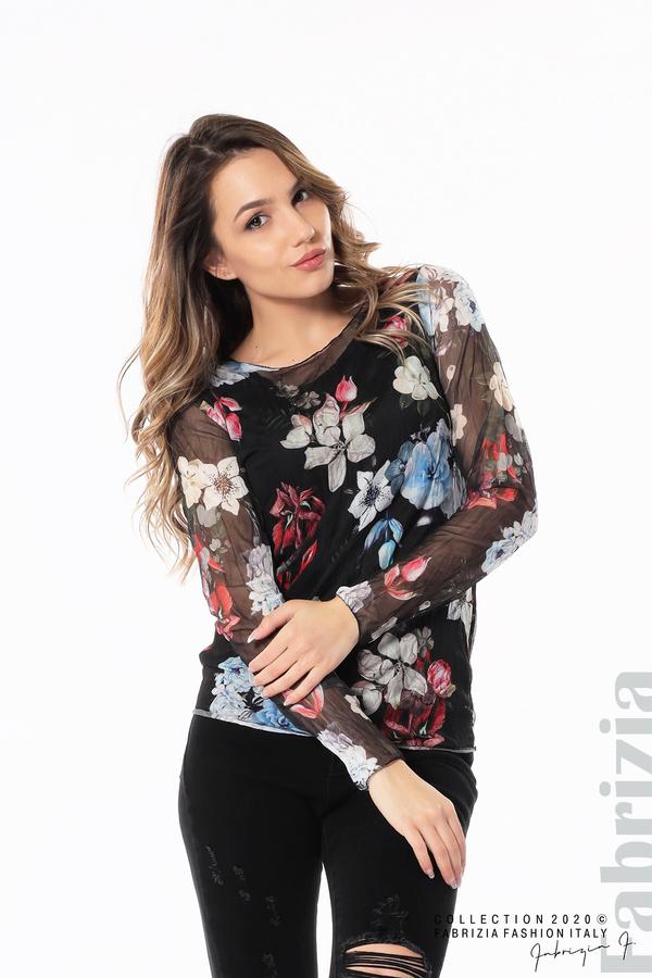 Тюлена блуза с цветя черен 2 fabrizia