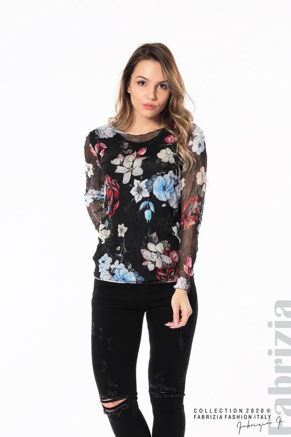 Тюлена блуза с цветя черен 3 fabrizia