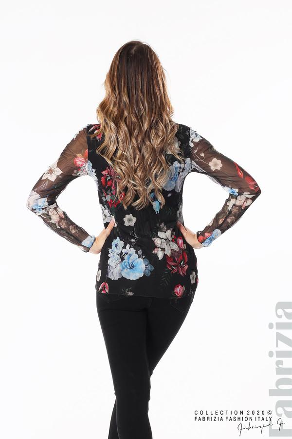 Тюлена блуза с цветя черен 5 fabrizia