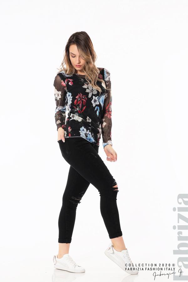 Тюлена блуза с цветя черен 4 fabrizia