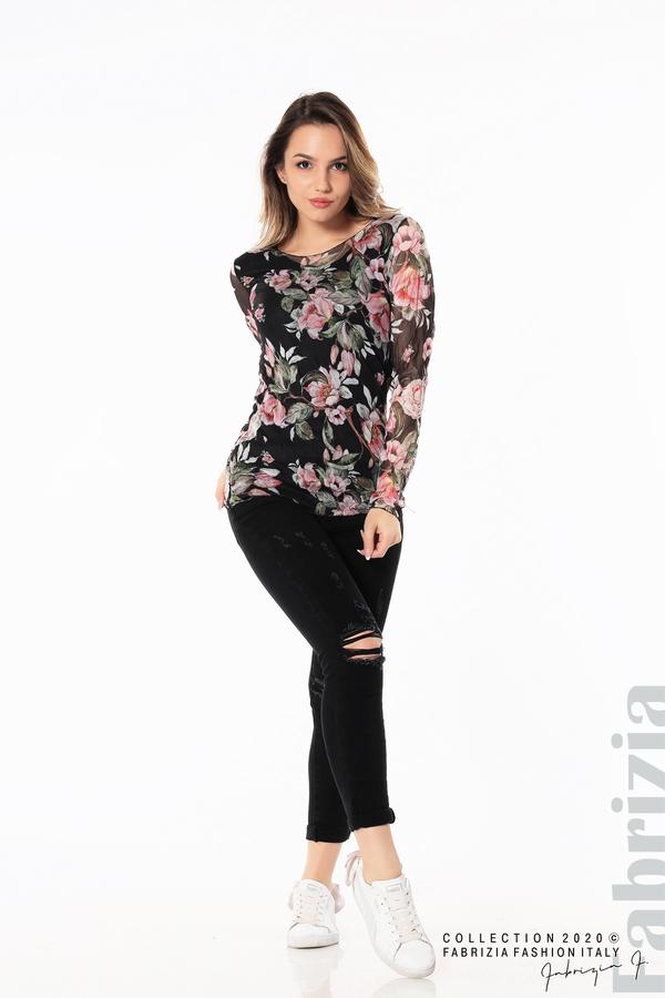 Блуза от тюл с флорален принт черен 3 fabrizia