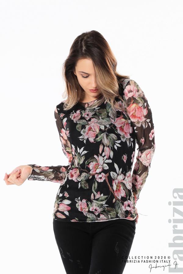 Блуза от тюл с флорален принт черен 1 fabrizia